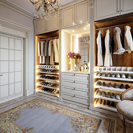 Fitted Wardrobes Ideas - Walk in wardrobe with open wardrobe storage and shoe cabinet