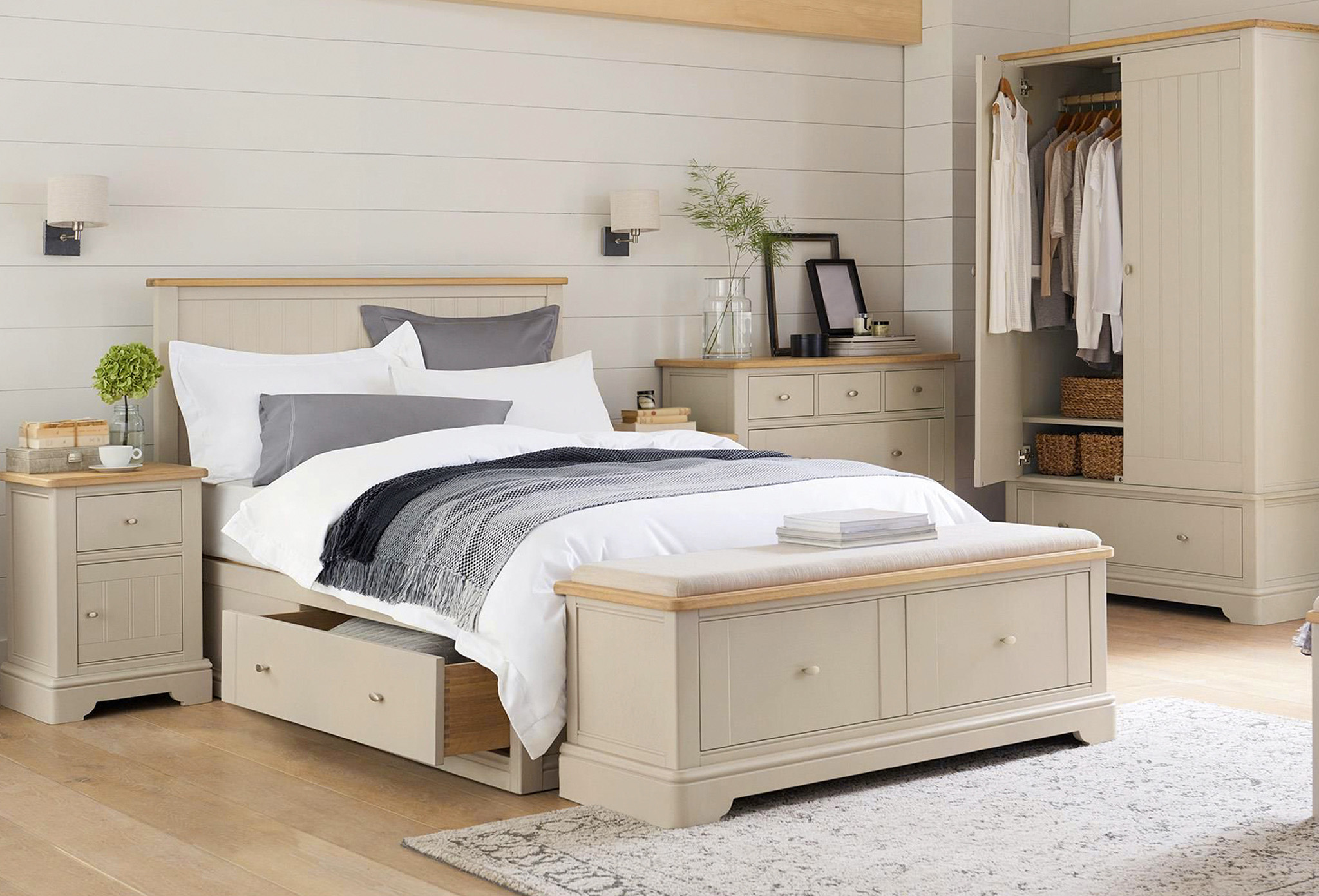 bedroom furniture, wardrobe with drawers, bedside table