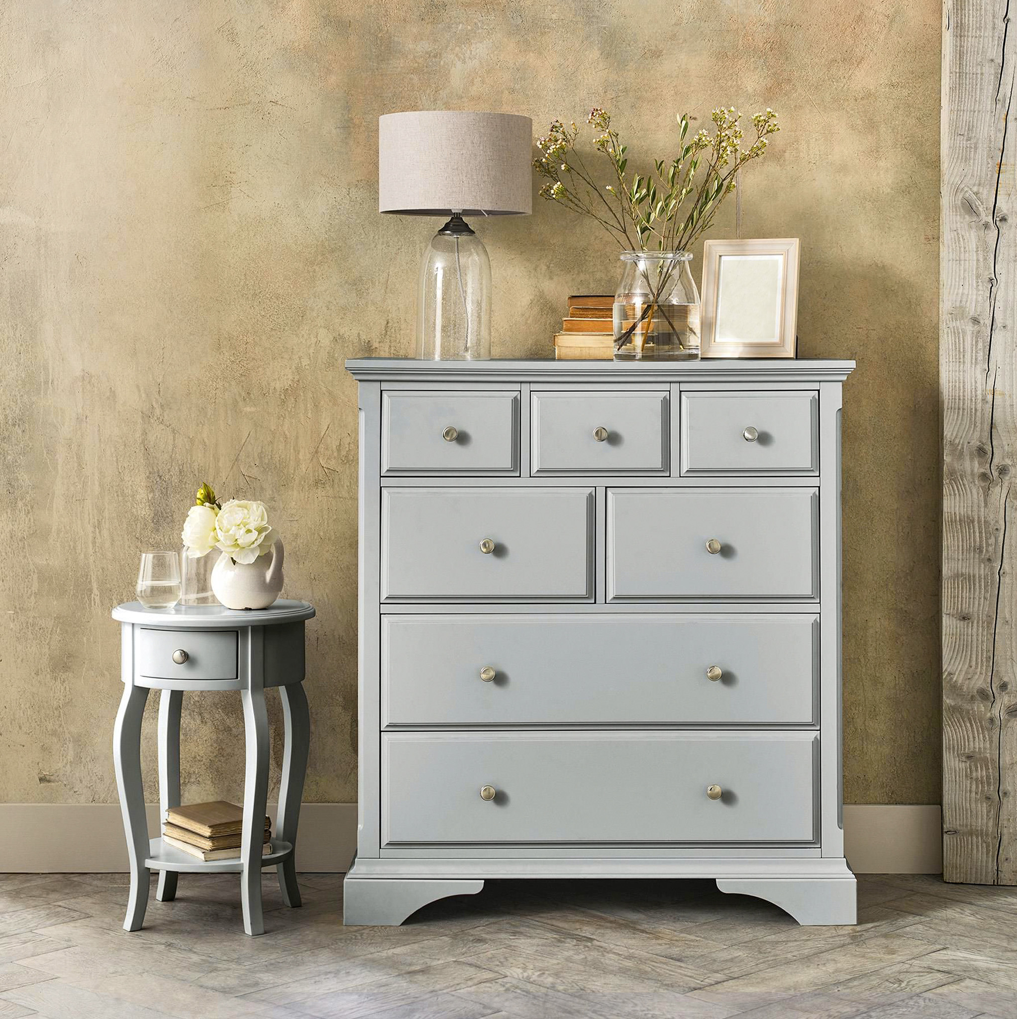 grey chest of drawers,grey bedside table