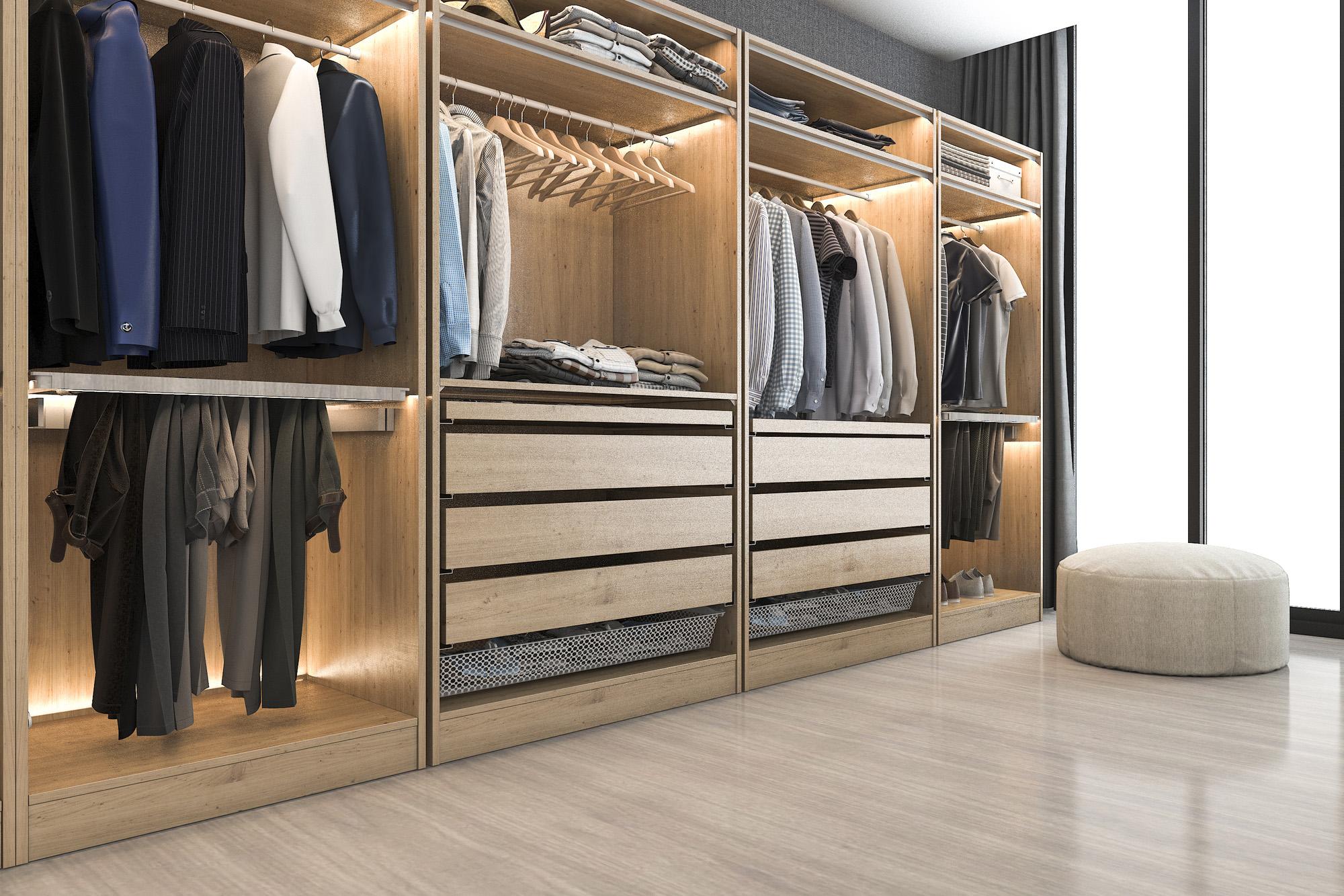 fitted wardrobe, open wardrobe system, wardrobe internal drawers