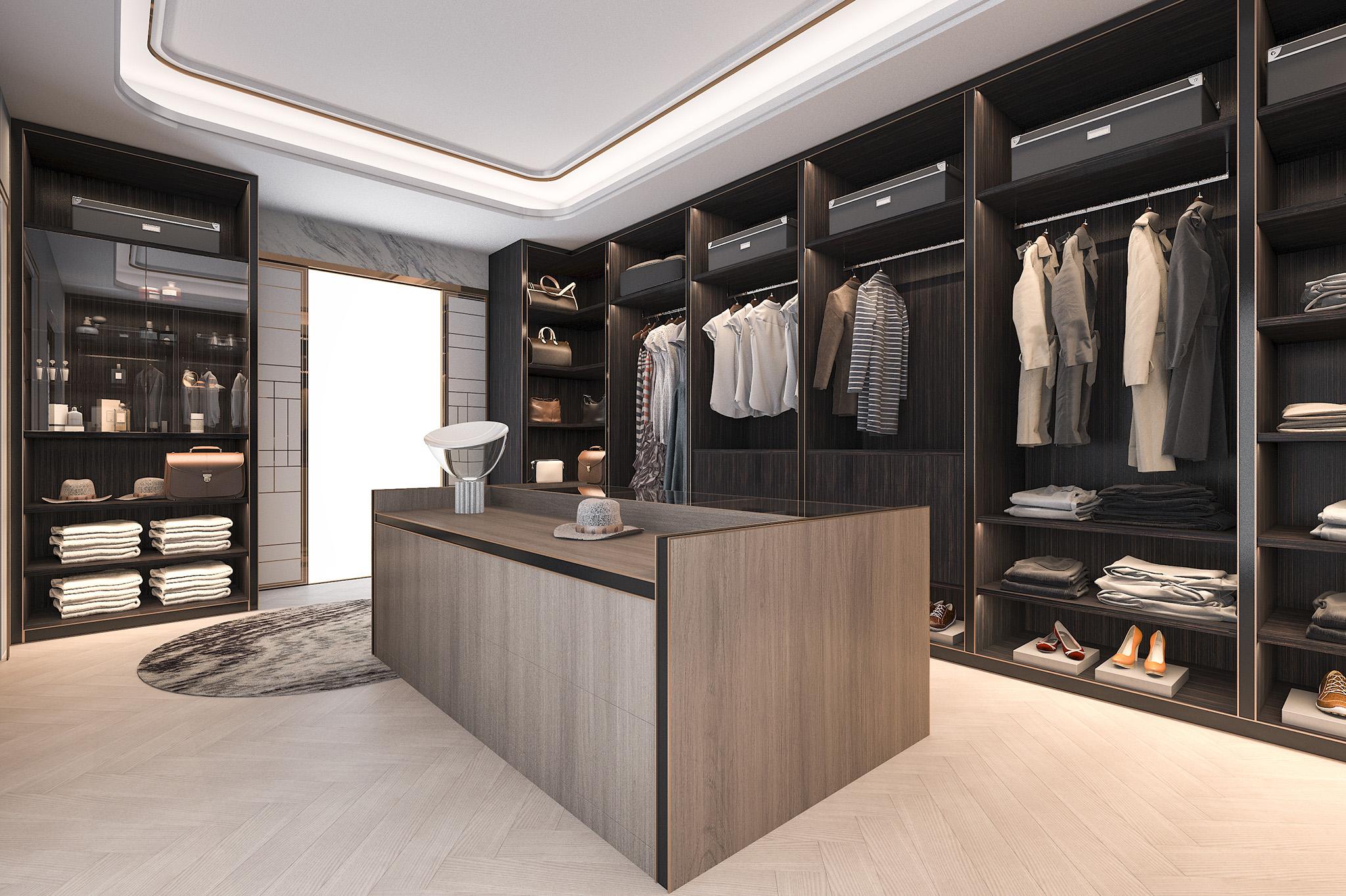 dressing room, dressing room island, grey wardrobes, bedroom furniture ideas