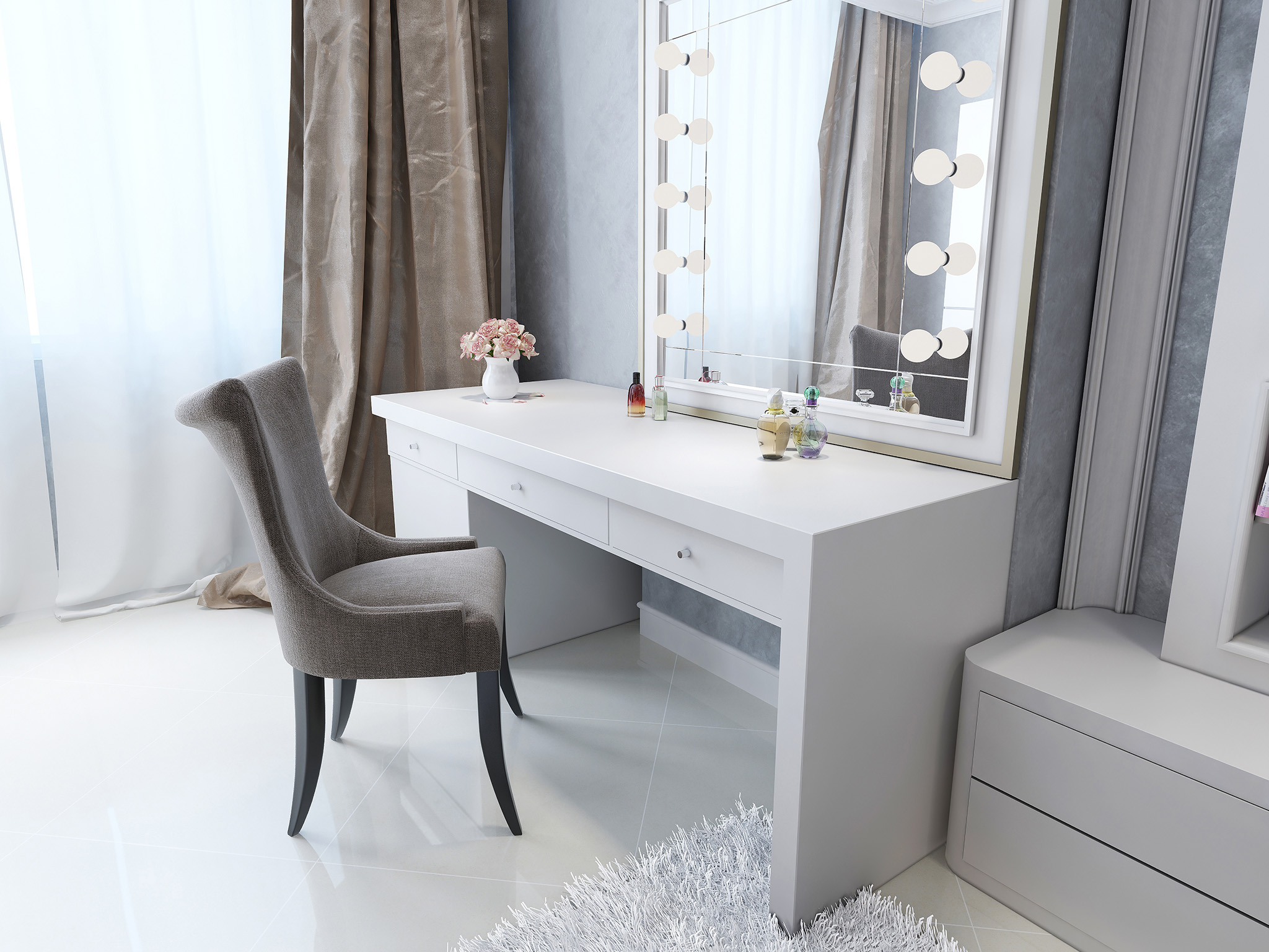 bedroom ideas for women, bedroom seat, dressing table