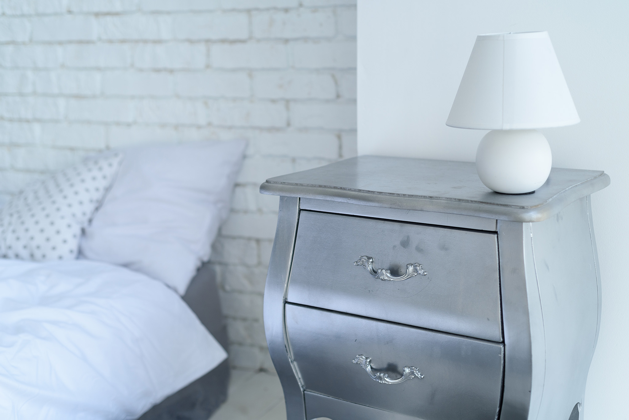 grey bedroom ideas, bedside table, bedroom furniture