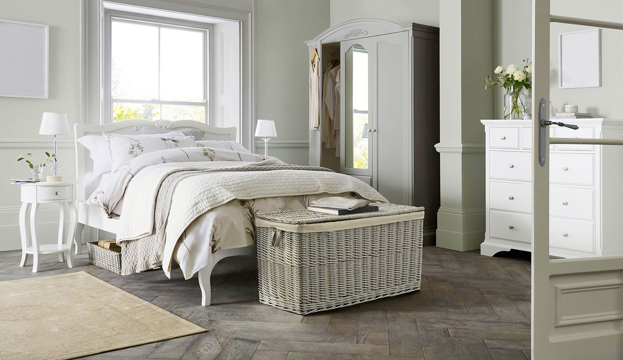 Bedroom accessories, wardrobe baskets, grey wardrobe, bedroom ideas for women
