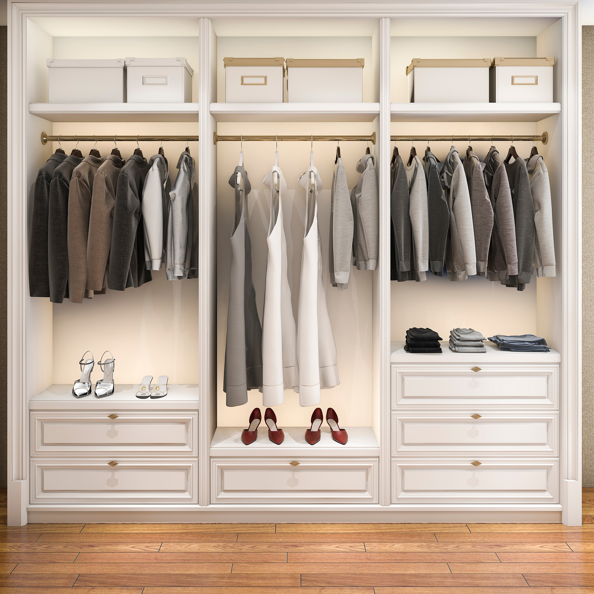wardrobe with drawers, suitcase storage solutions