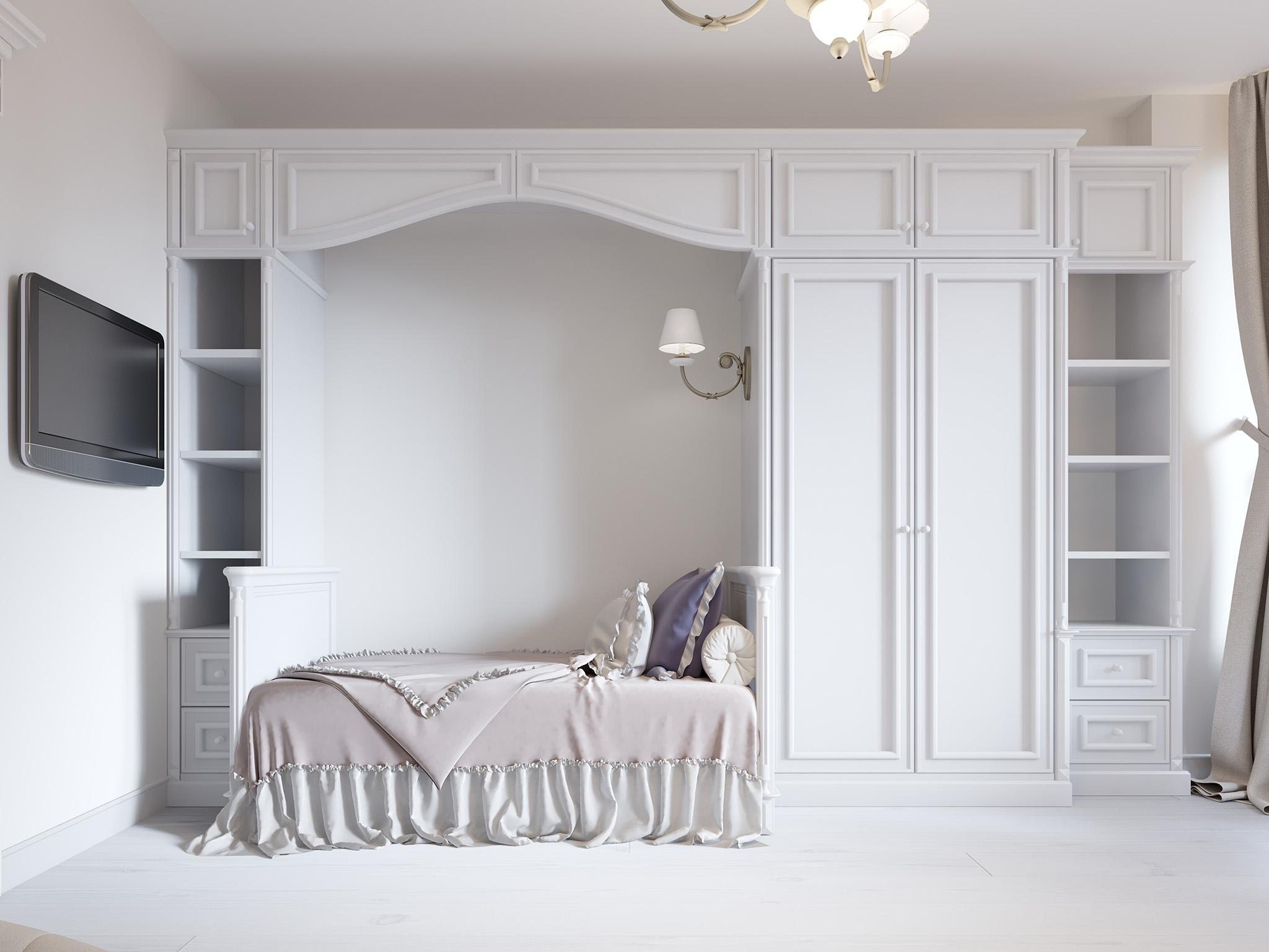 white wardrobe, custome wardrobe, two door wardrobe