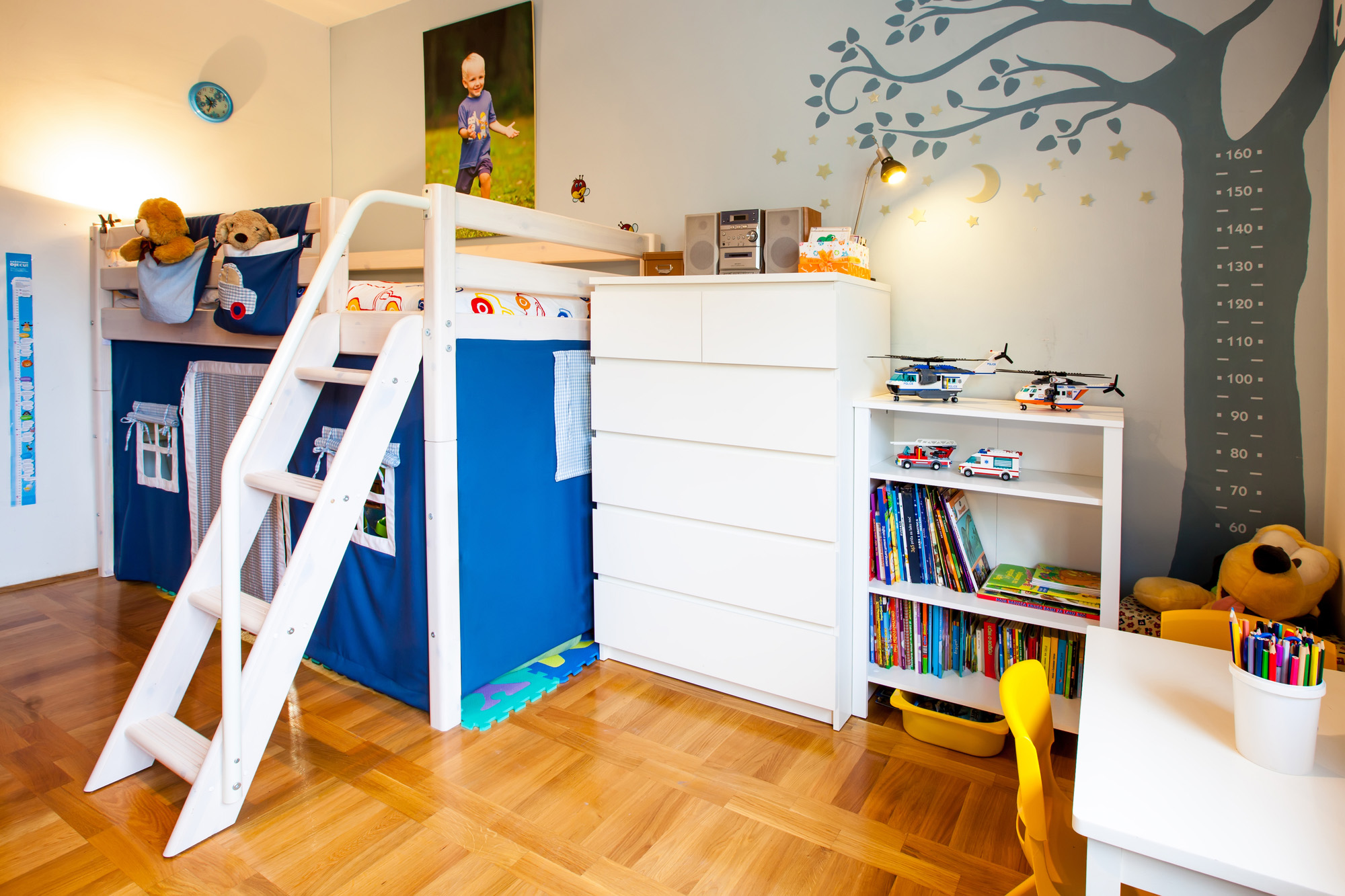childrens bedroom furniture, mid sleeper bed, boys bedroom