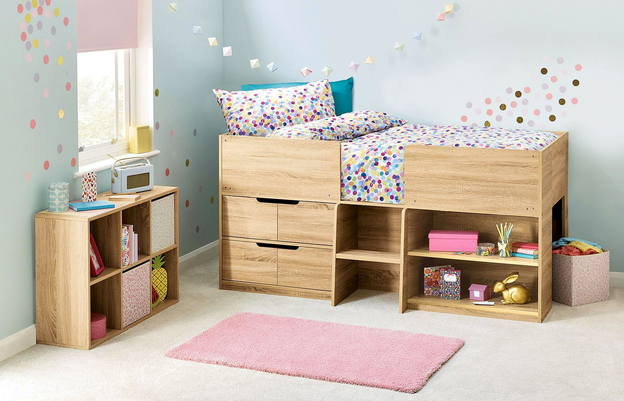 mid sleeper bed, childrens storage, childrens bedroom