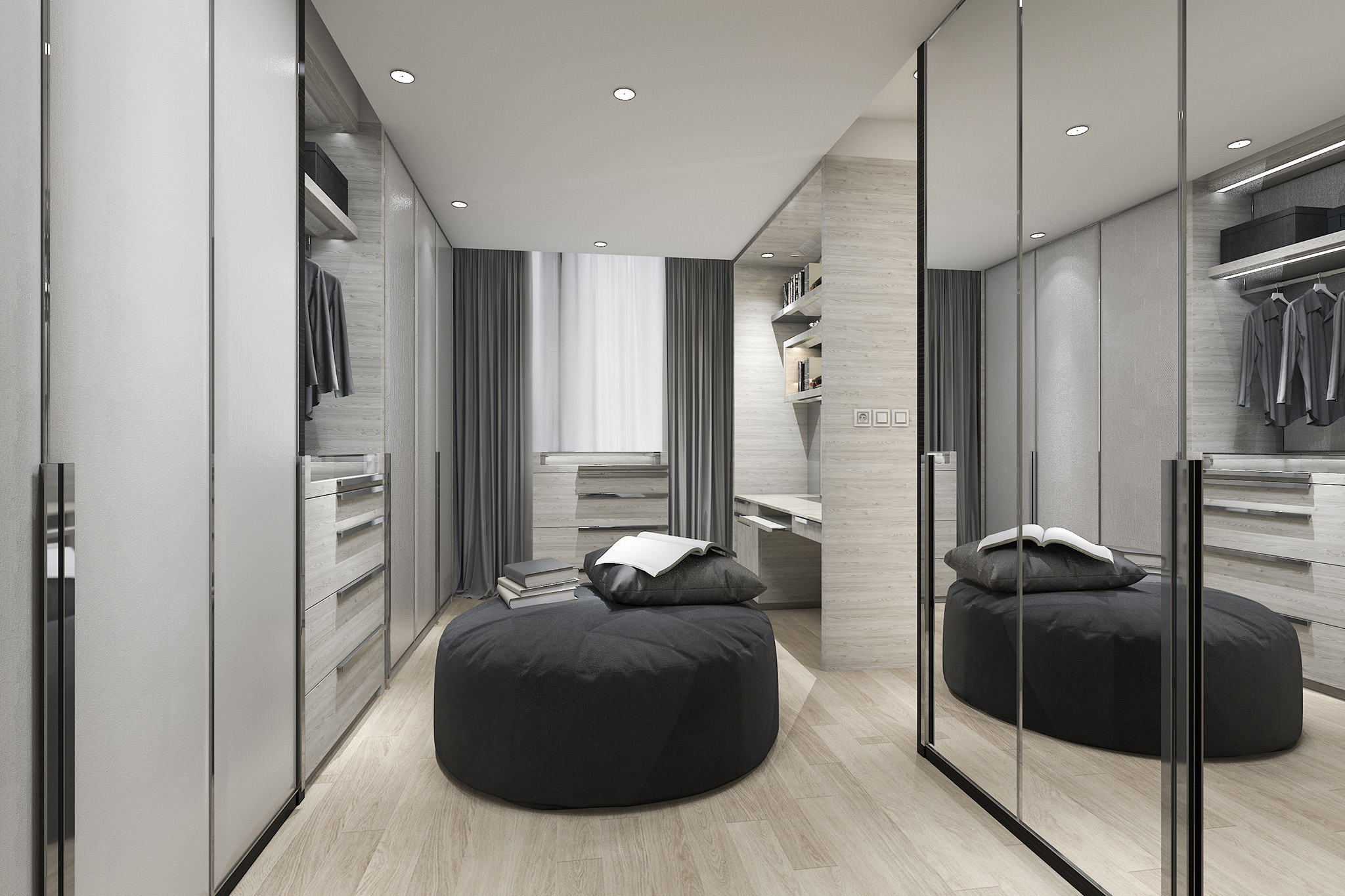 grey wardrobe, mirrored wardrobe, wardrobe with drawers, modern wardrobe