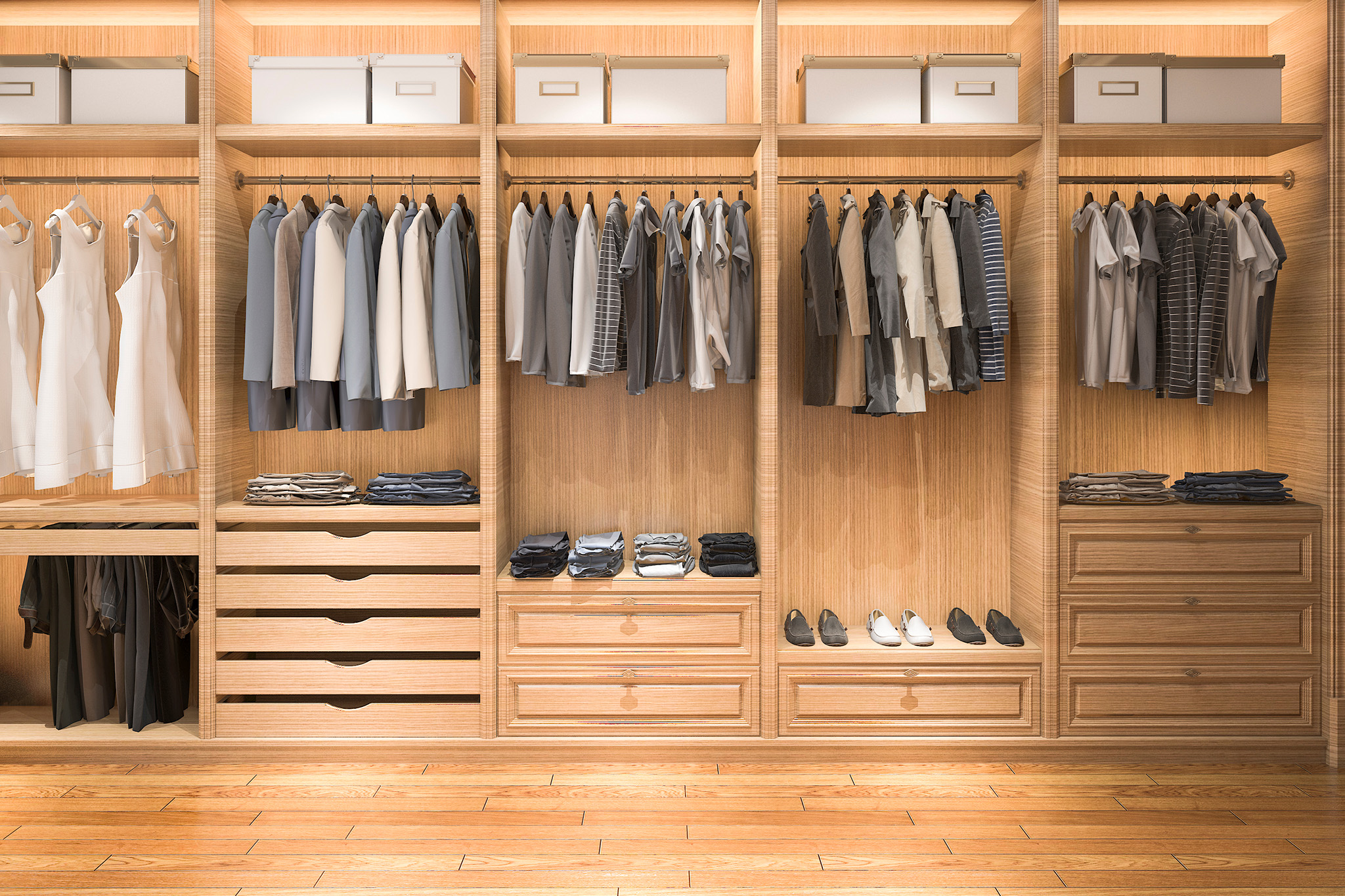 open wardrobe ideas, wardrobe drawers, wardrobe lights