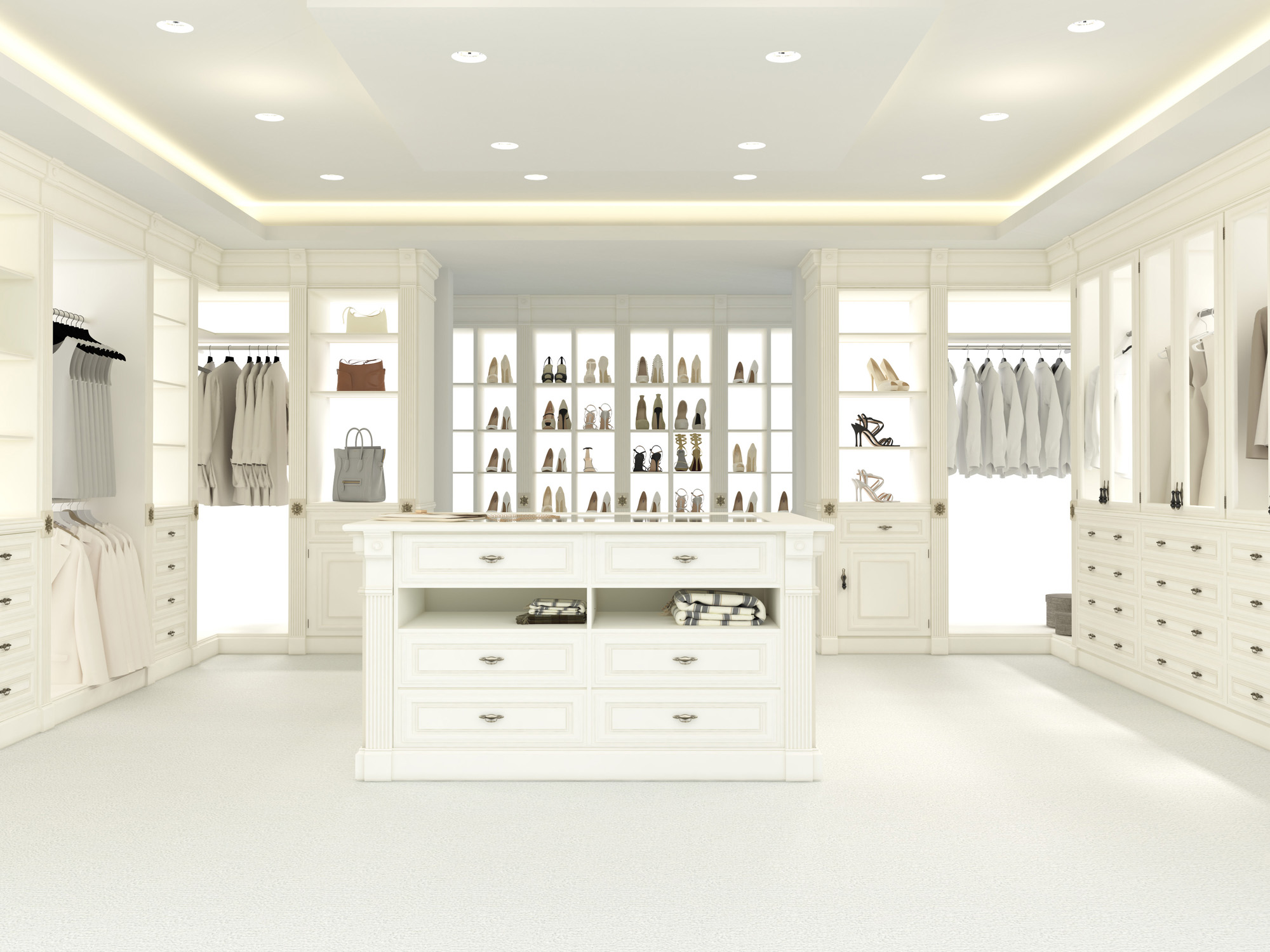 Dressing Rooms, open wardrobe ideas, white wardrobes