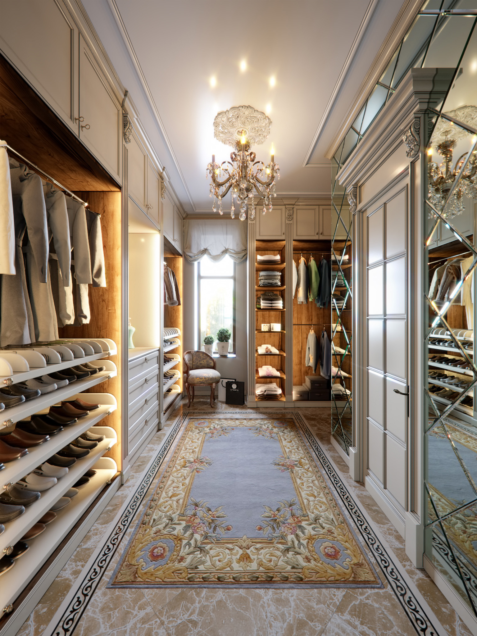 Luxury Wardrobes, dressing room design, shoe storage cabinet, dressing room lights