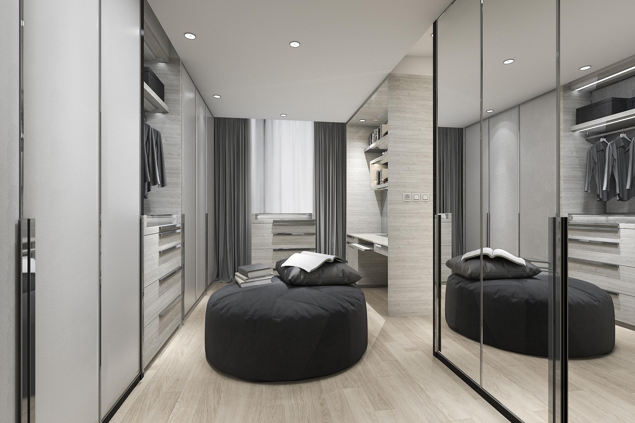 dressing room, grey wardrobes, walk in wardrobe