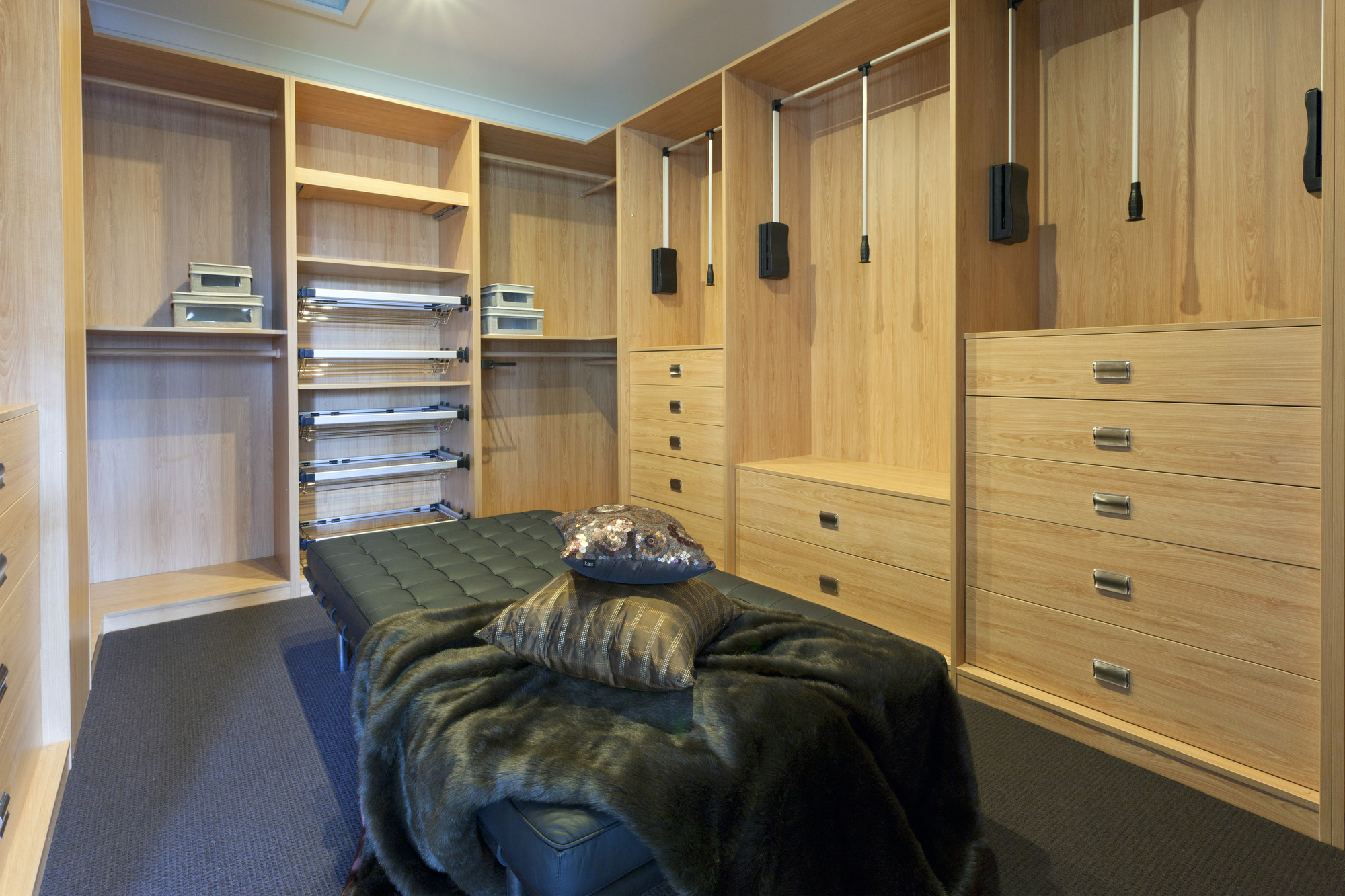 dressing room ideas, pull down wardrobe rail, wardrobe internal drawers