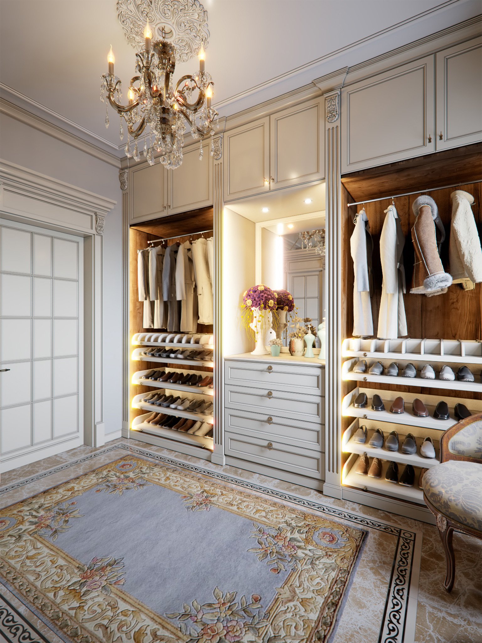 Luxury dressing room, shoe storage cabinet, dressing room lights