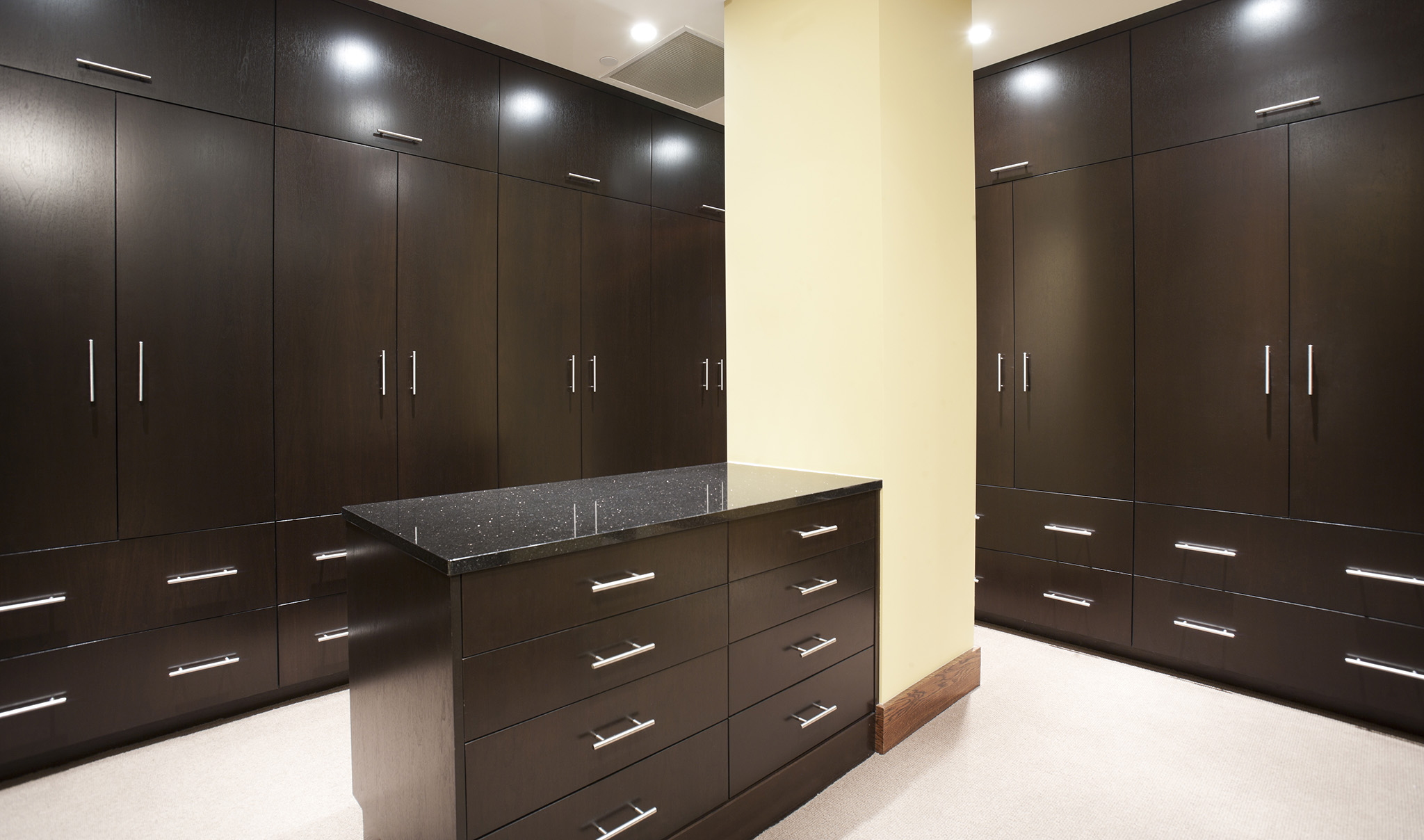 fitted dressing room, black wardrobes, modern wardrobe doors, dressing room island