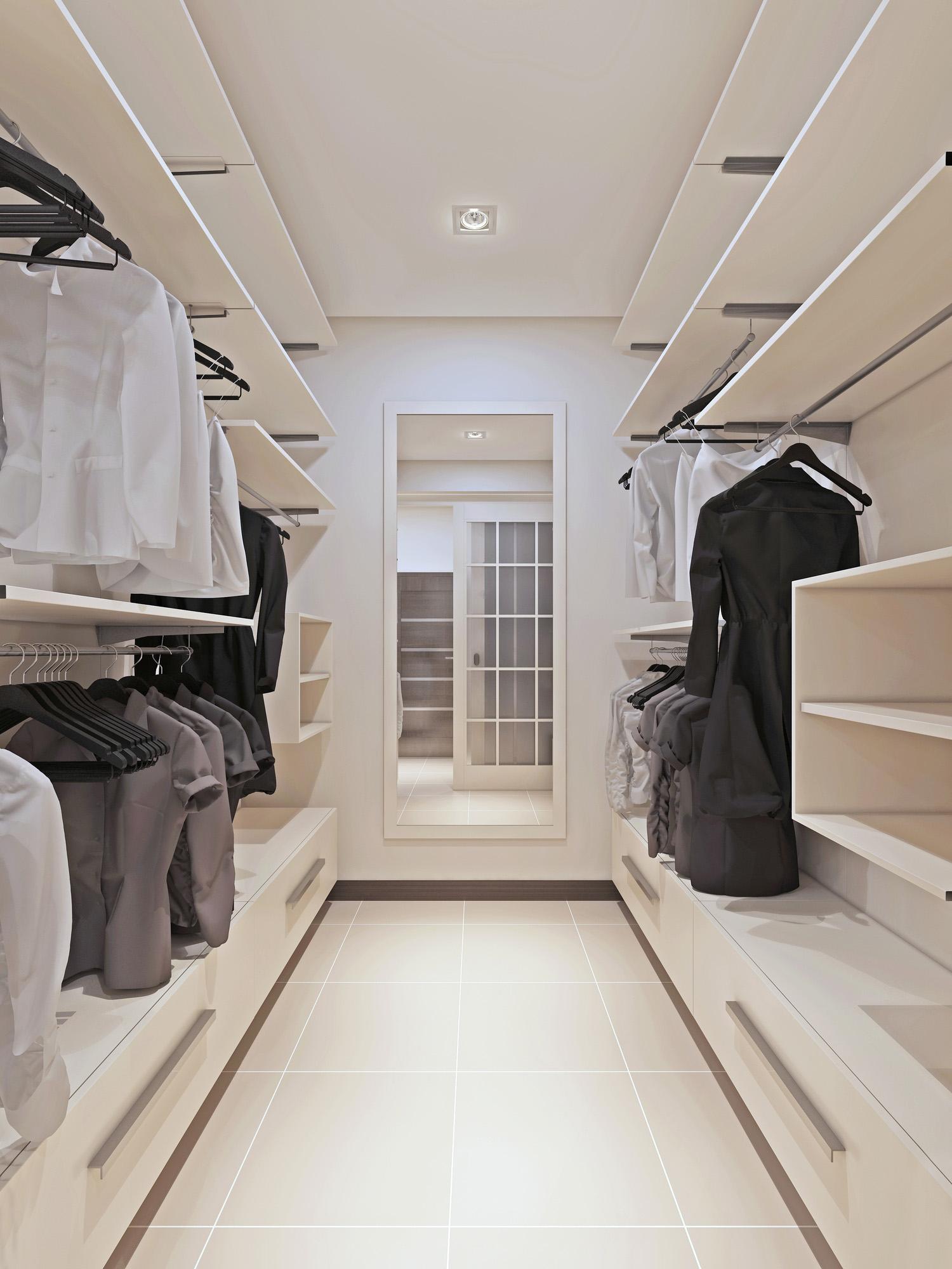 modern wardrobe, walk in closet, white wardrobe drawers