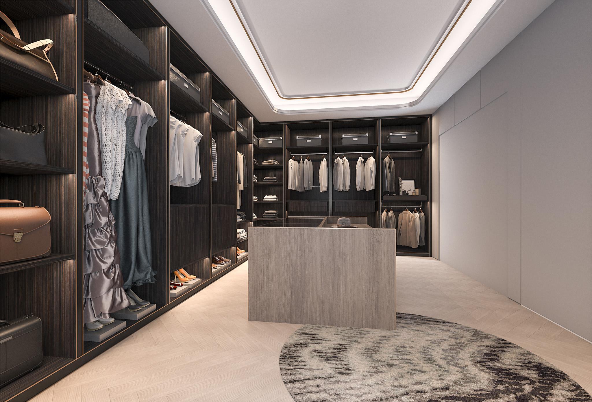 walk in wardrobe design, shoe storage, designer handbag storage solutions