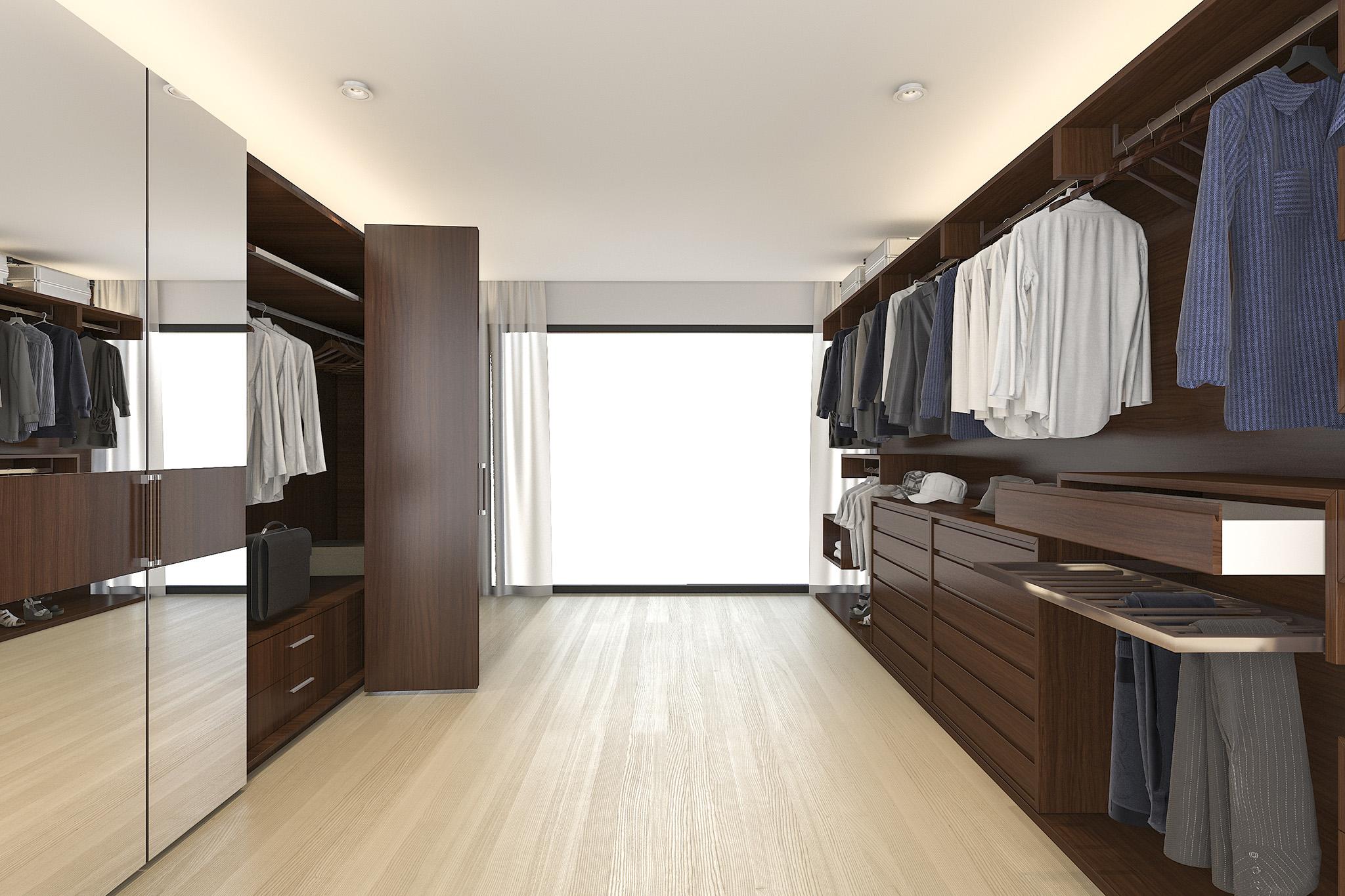 open wardrobe system, mirror wardrobe doors, bespoke storage solutions