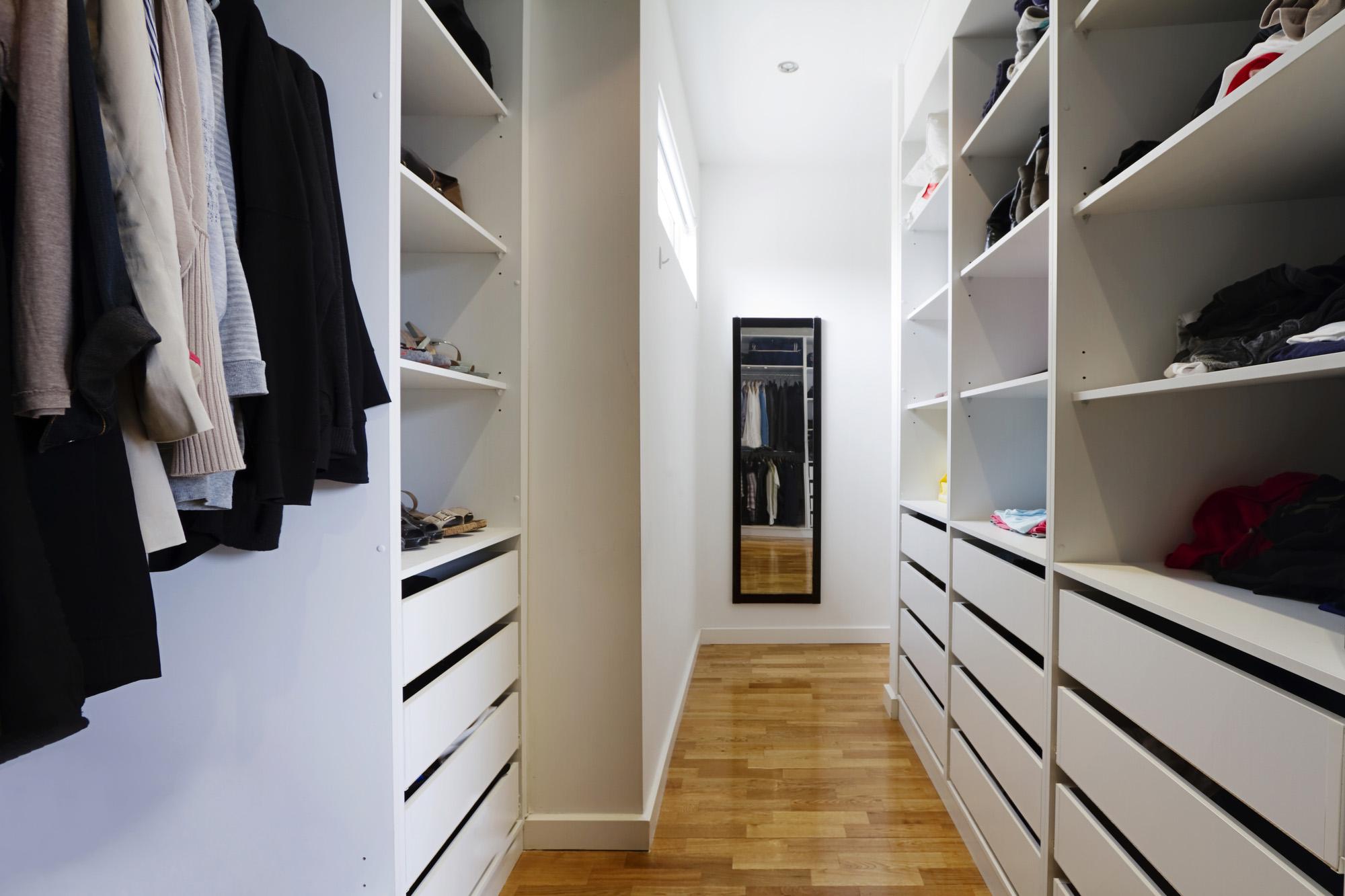 small bedroom storage, walk in wardrobe, white wardrobe storage solution