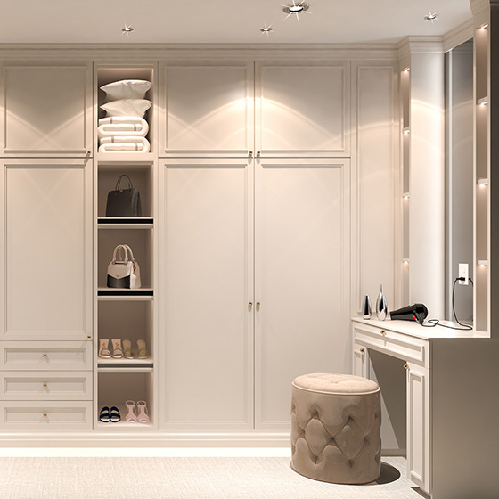 Fitted Wardrobes Ideas - Edwardian wardrobe with wardrobe drawers and wardrobe top cupboard storage
