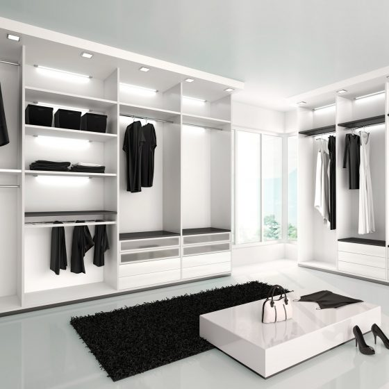 dressing room design, open wardrobe ideas, white wardrobe